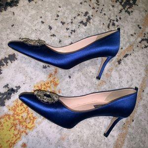 SJP Blue Satin Heels